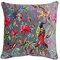 """Tropisches Blumenmuster Vögel Nerz Beige Pink L Baumwolle samt Eckig Gefülltes Kissen 50CM - 20 """" von Cushions Unique bei Du und dein Garten"""