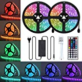 AMBOTHER LED Streifen 10M(2x5M) RGB LED Strip 5050 SMD 300(2x150) LEDs Lichtband IP65 Wasserdicht mit Netzteil 44-Tasten IR Fernbedienung selbstklebend Kit für Innen außen Beleuchtung Deko