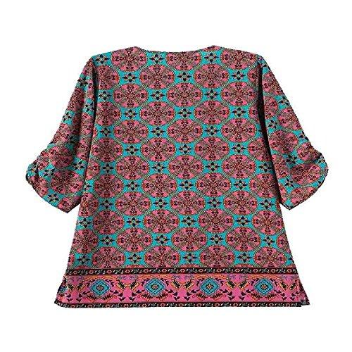 Minetom Femmes Rétro Bohème Manches 3/4 La Copie Robe D'été Lâche Baroque Mini Robe De Soirée Courte One Color