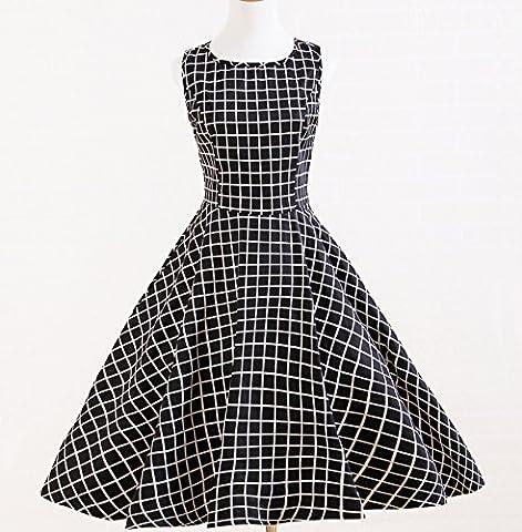 A-Line Cercle Noir Blanc Plaid Robes Rockabilly Rétro Vintage Années 50Designs - - XXXL