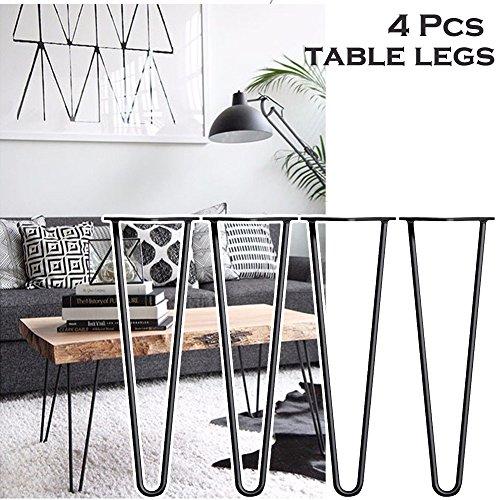 4 PCS 40,6 Cm Tisch Beine Bis Mitte Des Jahrhunderts Modern Style Premium  Stahl Absteppungen 2 Zinken 10 Mm Stärke U2013 Bare Stahl