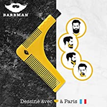 BARBMAN : Double peigne à barbe pour un rasage précis des contours, avec brossette de nettoyage pour rasoir, cadeau idéal pour hipster barbu