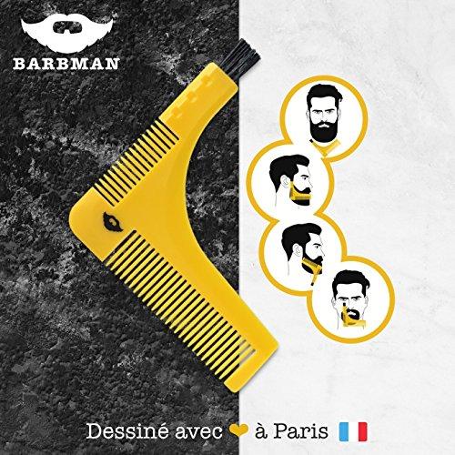 BARBMAN : Doble peine de barba para un afeitado precisa de los bordes, con cepillo de limpieza para afeitadora, regalo Ideal para Hipster Barbudo