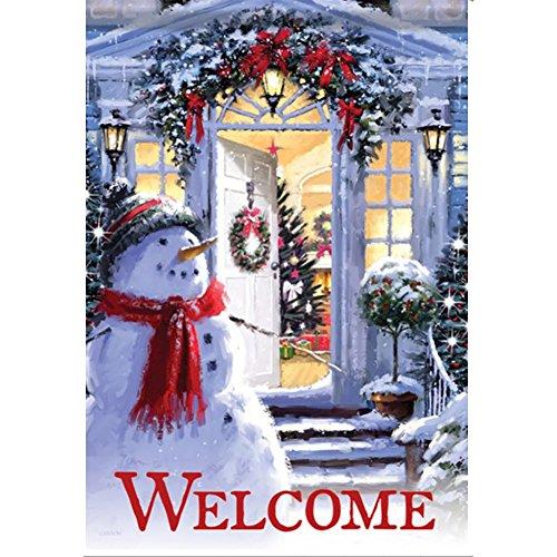 Hankyky Weihnachtsgarten Flagge Winter Hof Outdoor Decor 100D Polyester Saisonale Festliche Urlaub Flags 12