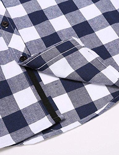 ZEARO Herren umdrehen Kragen abnehmbare Kapuze Plaid Casual Button Down Shirt Blau Weiß