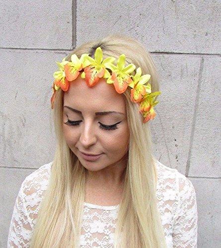 Amarillo-naranja-orqudea-guirnalda-de-flores-diadema-pelo-banda-hawaianas-Festival-2452-Exclusivamente-Se-Vende-por-STARCROSSED-Boutique