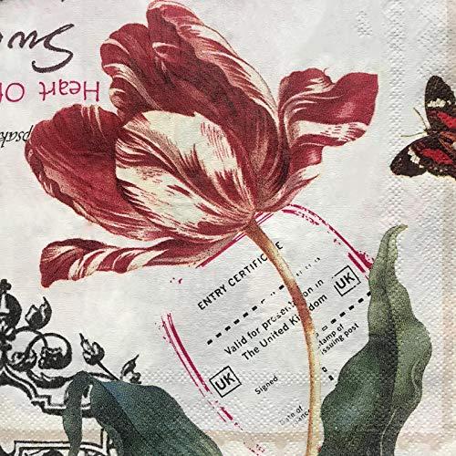 Generico 10 Tovaglioli per Decoupage Vintage - Fiori - 33x33-2 veli