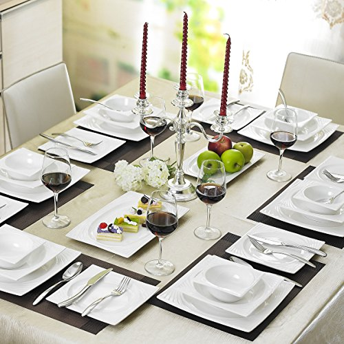 Malacasa Series Sabina 26-Piece China Ceramic Cream White Porcelain Dinner Set with 6-Piece Bowls ... : white rectangular dinner plates - pezcame.com
