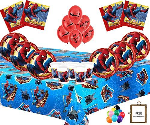 Marvel Spiderman Party Supplies Kindergeburtstag Geschirr Spiderman Dekorationen für 16- Spiderman Platten Latex Luftballons Free Fotorahmen & Ballon