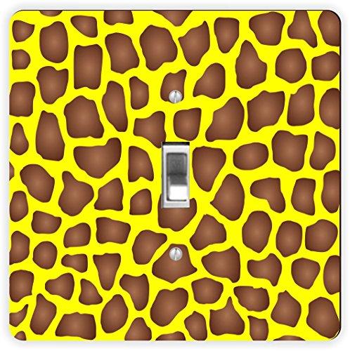 Rikki Knight braun schattiert Giraffe Design auf yellow-single Toggle Lampe Switch Plate (Wall Yellow Plate)
