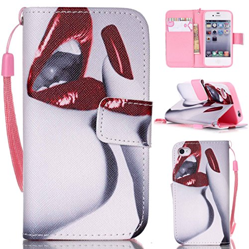 4S Coque, iPhone 4S Coque, Lifeturt [ L'iPhone est verrouillé ] Coque Dragonne Portefeuille PU Cuir Etui en Cuir Folio Housse, Leather Case Wallet Flip Protective Cover Protector, Etui de Protection P E02-Red Lips Nails128793