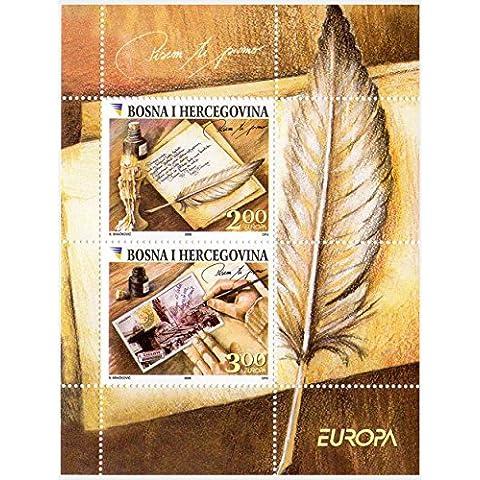 Europa 2008 carta hoja sello de recuerdo para coleccionistas - 2 sellos emitidos en 2008 / michel no: bloque 34 / menta