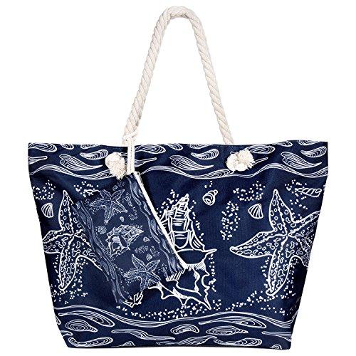 (MOOKLIN Große Strandtasche mit Reißverschluss Sommer TascheVerschluss Damen Shopper Tasche Schultertasche Schwimmbad Badetasche Umhängetasche Beach Bag - Seestern)