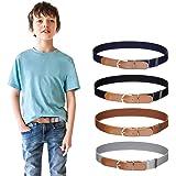 Cinturón elástico para niños y niñas de 4 piezas - Cinturón de hebilla ajustable con cuero para niños de 3 a 15 años