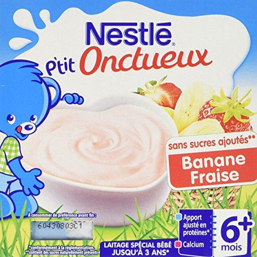 Nestlé Bébé P'tit Onctueux Bananes Fraises Laitâge dès 6 mois 4 x 100g - Lot de 6