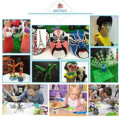 3D Pen 3D-Zeichnen und Kritzeln Erstaunliche Geschenk für Kinder 3D Drucker Stift zur Erstellung von dreidimensionalen Zeichnungen, Kunstwerken, Modellen, von Hand 3D Stift Druckerstift Pen 3 x 5=15M 1.75mm PLA enthalten (Gelb) - 9
