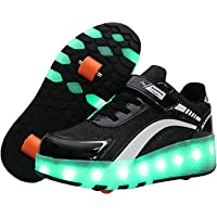 LED Trainer/Shoes,LED Roller Skates,for Unisex Kids Boys Girls,7 Colors,Retractable Double Wheels,Lightweight Low-Top…