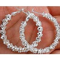 Amesii Wholesale Women Jewelry 925 Sterling Silver Stars Hoop Earring