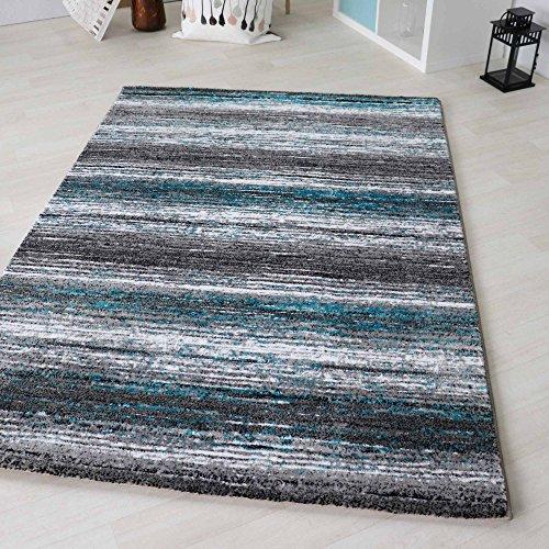 mynes Home Teppich Kurzflor Modern in Türkis Schwarz liniert mit grafischem Design in versch. Größen (60 x 110 cm)