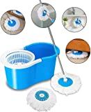Vikas Mop Floor Cleaner with Spin Bucket Mop Set Offer for Best 360 Degree Easy Magic Cleaning, WITH 1 Microfiber (Blue…