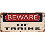 Print Crafted - Beware Of Trains - Vintage Metal Sign | Railway Locomotive Trainspotting Caution Sign