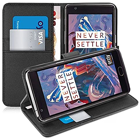 OnePlus 3T / OnePlus 3 Case - Orzly Multi-Function Wallet Case for OnePlus 3 (Original 2016 Model & 3T Version) - BLACK Wallet Case Style Phone Cover with Card Pockets & Integrated Display