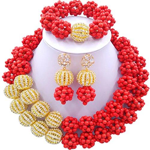 Laanc 2rows Rouge Collier de perles Turquoise et strass Doré du Nigeria africain Bijoux Femme Définit Orange Red and Rhinestone Gold