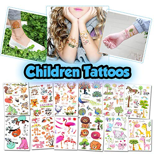 BETTERLINE Kids Temporary Tattoos - More Than 100 Assorted Body Art Design Tattoos for Children (Animals Tattoos - 12 Sheets)