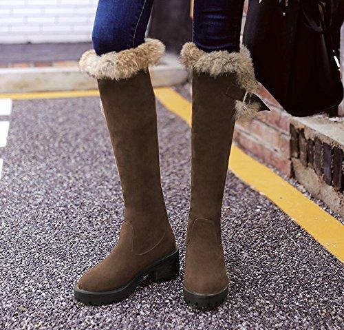 Mee Shoes Damen chunky heels Nubukleder runde langschaft Stiefel Braun