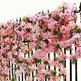 Turelifes 1 pezzi 7.22 piedi/pezzo di ciliegio artificiale Vines Hanging Flower spray modalità Faux ghirlanda corona di fiori di seta stringa festa di nozze casa Décor Rosa scuro