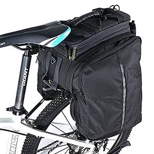 Alforjas traseras para bicicleta con funda para cámara. Prácticas alforjas para bicicleta con bolsa de transporte de Rockbros, color Negro , tamaño 335mm*230mm*260mm