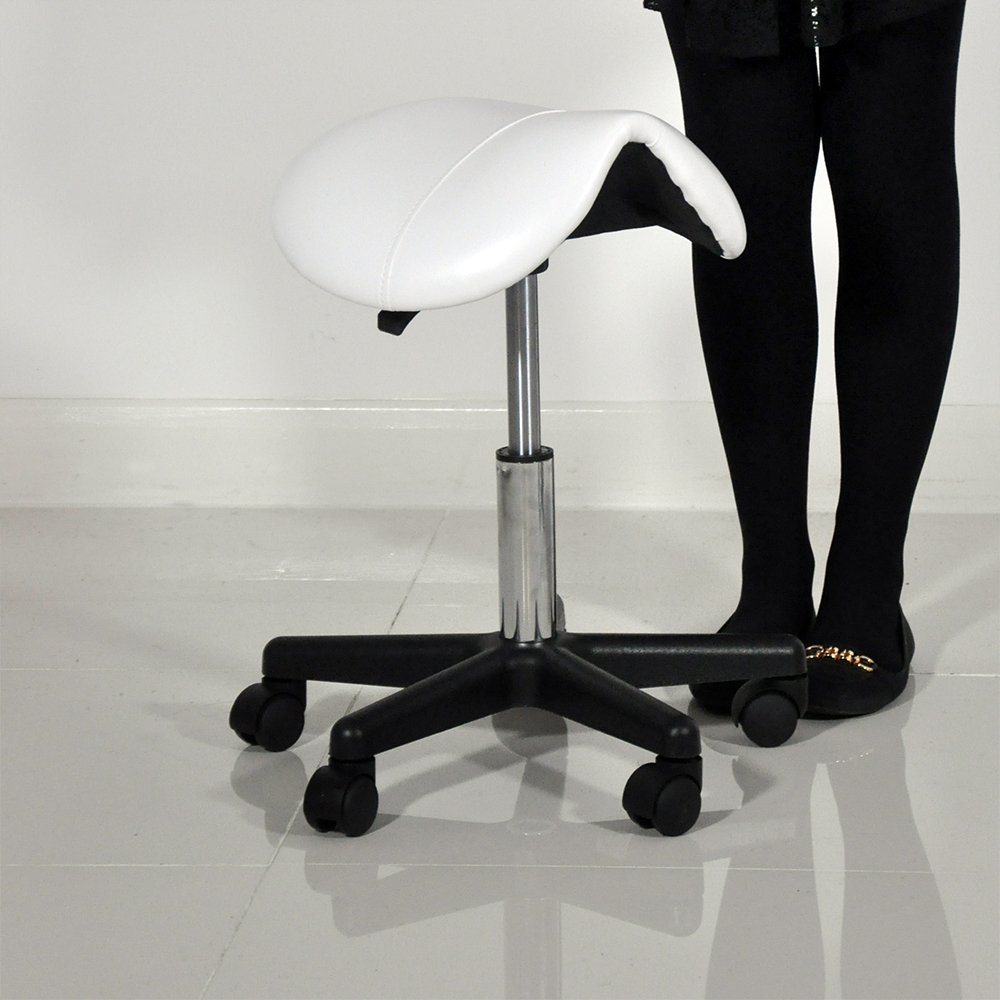 beauty therapist pedicure swivel saddle stool white amazoncouk kitchen u0026 home