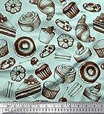 Soimoi Grun Poly Georgette Stoff kleine Kuchen, Krapfen &