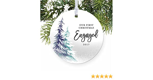 1st christmas engaged engagement party gifts for couple first xmas as fiance fiancee round christmas ornament