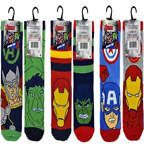 6 BOYS KIDS MARVEL AVENGERS HULK & CAPTAIN AMERICA CHILDRENS SOCKS (12.5-3.5 UK)