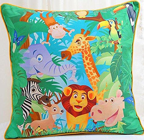 Stampa digitale bambini cuscino copertina 18 x 18 pollici 1 pezzo 100% cotone, KCC181-134-Jungle