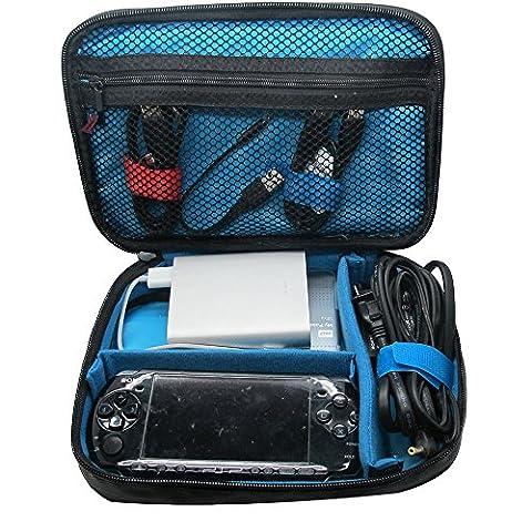 Teckone Etui de voyage universel Plusieurs Electronique Accessories Fonction Organisateur Stockage Carry case Cas Sac pour Carte mémoire, USB câble, de la batterie,du cordon d'alimentation,Banque de Puissance, WD/Seagte/Samsung Hard drive disque dur (Moye