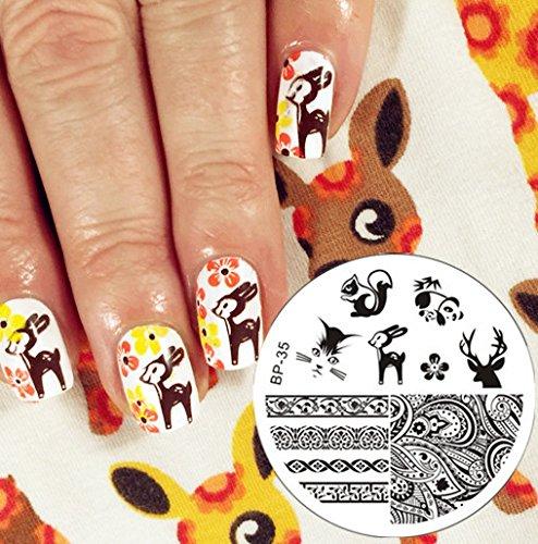 Nail Art Stamping Bild Metal Platte Nail Art Design Muster Vorlage Hirsch - AP35 - FashionLife