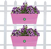 TrustBasketSet of 2 - Rectangular Railing Planter - Magenta (12 Inch)