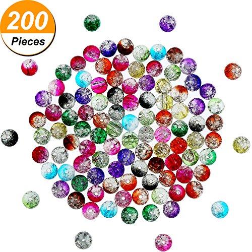 200 Stück 8 mm Crackle Glasperlen Bunte Crackle Perlen Gemischt Risse Glas Rund Perlen für Schmuckmachen und Handwerk (Glas Crackle Ornament)