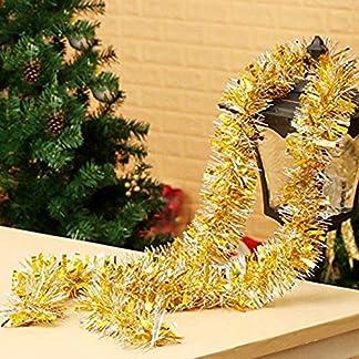 Cosanter 1PCS Cinta de Navidad de Navidad Cintas para Decorativas árbol Navidad Boda Partido Espumillón Guirnalda Adornos de Navidad (Dorado) 200cm