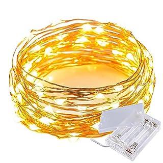30er Batteriebetriebene LED-Lichterkette Warmweiß,3M LED Kupferdraht Micro LEDs Lichterkette Innen- und Außenbereich 9.8 ft