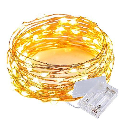 20er Batteriebetriebene LED-Lichterkette Warmweiß,2M LED Kupferdraht Micro LEDs Lichterkette Innen- und Außenbereich 6.6 ft