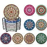 WZRYJS Saugfähige Untersetzer für Gläser und Tassen aus Keramik mit 8er Set Korkboden Saugfähige Keramik Untersetzer mit Korkrücken Mandala Stil für Tassen Tisch Bar Glas