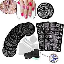 Biutee Stamping Nail Art de Acero Inoxidable con 13 Placas + 2 Estampador +2 Raspador