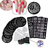 Biutee 13Pcs Flower Forest Image Nail Plates + 2 Stamper Scraper Sets Nail Art Stamping Plates Nail Stamp Plate Nail Art Tools by Biutee