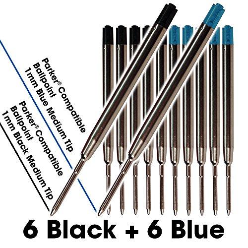 Jaymo - 6 Schwarz und 6 Blau = 12 Gel Parker® Kompatible Pen Refills. Glattes Schreiben Deutsch .7mm Medium Tip and Ink. # 30525PP und # 30526PP.