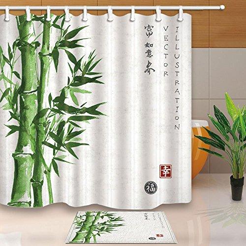 cdhbh Green Plant Dusche Vorhänge asiatischen Aquarellzeichnung Bambus 180x180cm Schimmelresistent Polyester Stoff Duschvorhang Set 40x60cm Flanell rutschfeste Bad Teppiche