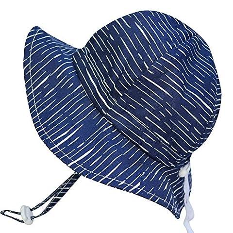 Chapeau contre le soleil pour bébé avec mentonnière, cordon d'ajustement de la taille de la tête, respirant , FPS de 50+(S: 0-9mois, Vagues de la marine )