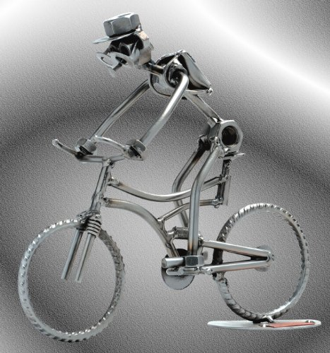 Boystoys HK Design - Schraubenmännchen Mountainbike - Metall Art Geschenkideen Deko Skulptur Sport & Freizeit - hochwertige Original Figuren handgefertigt